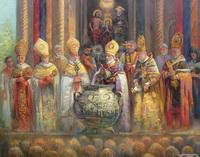 Всеармянский Католикос Вазген освящает мюрон в Эчмиадзине