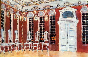 Зал во дворце. Эскиз декорации к опере А.Н. Корещенко Ледяной дом